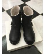 NIB 100% AUTH Gucci Kid's Black Shearling Motorcycle Boots Sz 30 $578 38... - $275.22