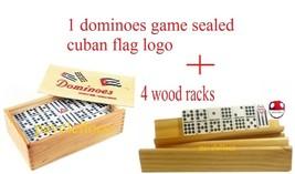 DOMINO holders DOBLE NUEVE double  NINE DOMINOES + 4 racks/tablitas - $39.45