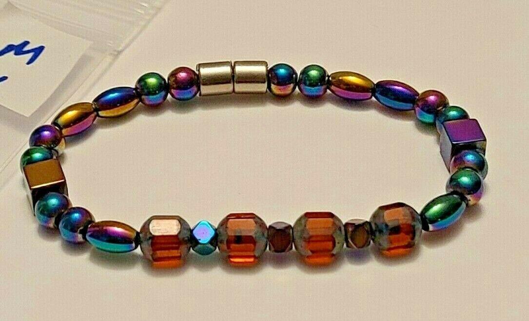 Magnetic Hematite Bracelet 7 inch  Single Strand  (MAG-004)