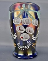 Carnival Glass - ENAMELED GROUND CHERRIES Blue Hand Painted Tumbler 4854 - $38.25