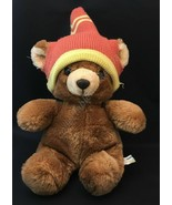 Vintage Animal Toy Imports Brown & Tan Teddy Bear with Winter hat - $19.75