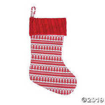 Red Print Knit Christmas Stocking - $12.49