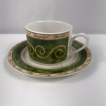 American Atelier Bouquet Garni Flat Cups And Saucers 3 Sets Stoneware 5011 - $14.85
