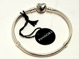 Pandora 6.3in. Moments Heart Clasp Snake Chain Bracelet STERLING SILVER ... - $31.63