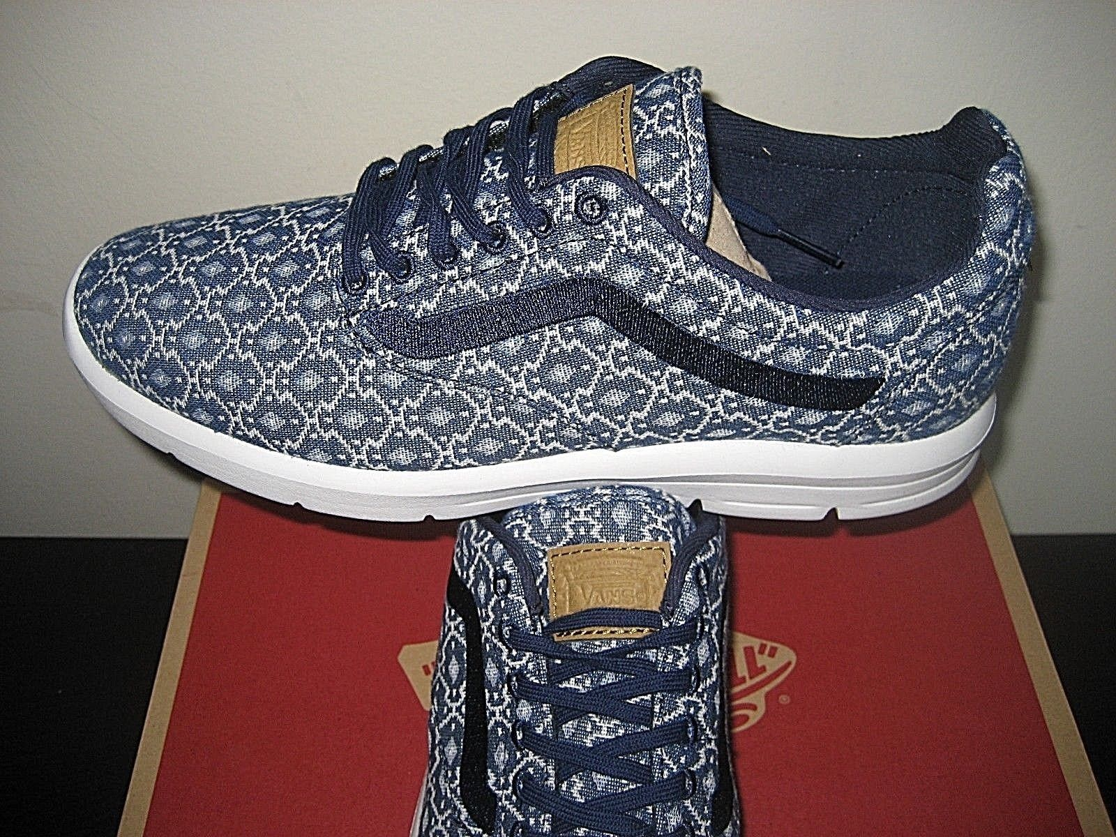 Vans Mens Iso 1.5 Blanket Weave Eclipse Blue White  Shoes Size 8 Ultra Cush New
