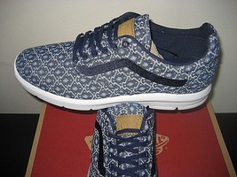 Vans Mens Iso 1.5 Blanket Weave Eclipse Blue White  Shoes Size 8 Ultra Cush New - $54.39