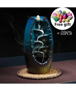 Mountain River Incense Holder Ceramic Waterfall Backflow Smoke Incense B... - $6.92+