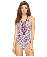 NWT NANETTE LEPORE M Festival Folkloric Goddess swimsuit lace up strappy... - $71.78