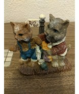 Cat Bus Stop Figurine Repaired Mother And Kitten Brown And Gray Cats Used - $25.00