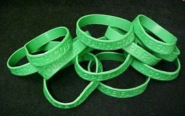 Green Awareness Bracelets 12 Piece Lot Silicone Jelly Wristband Cancer Cause image 1