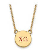 Ss/Gold Plated Sterling Silver With Gp Logoart Chi Omega Sm Enl Pend Nec... - $43.12