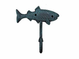 Nautical Decorative Cast Iron Fish Key Towel Coat Hook Hanger Sea worn B... - $9.56