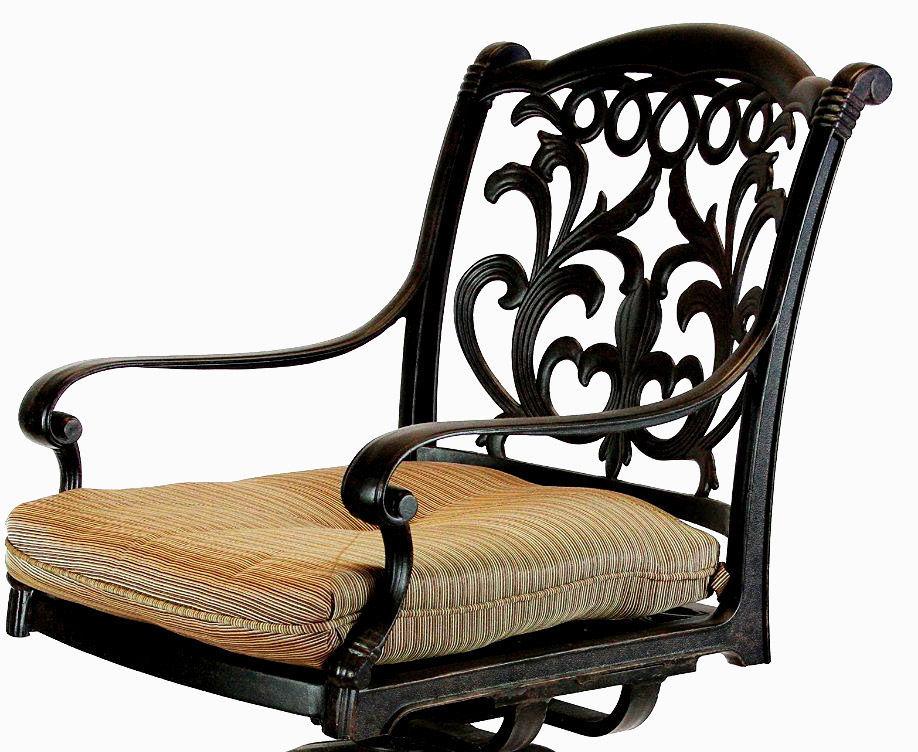 Patio outdoor living cast aluminum bar stools set of 2 swivel Flamingo Bronze.