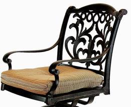 Patio outdoor living cast aluminum bar stools set of 2 swivel Flamingo Bronze. image 4