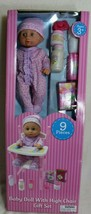 Sweetums Baby Doll With Highchair Gift Set 9 Pieces New In Box Christmas Gift - $25.73
