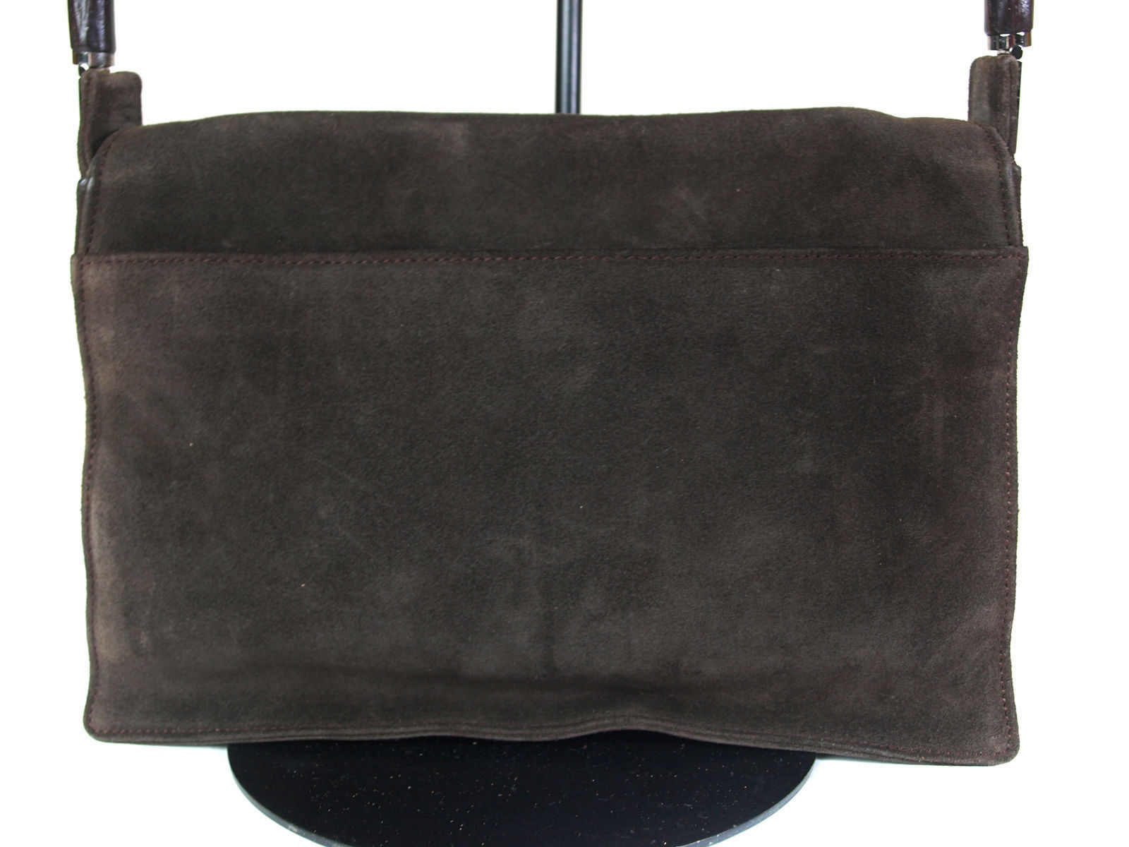 Authentic GUCCI Bamboo Suede Leather Dark Brown Shoulder Bag GS4235L