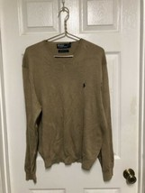 NEW Polo Ralph Lauren Men's Sweater Size XL Tan Soft Pima Cotton V-Neck Top - $29.92