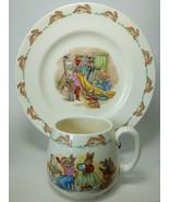 "Royal Daulton Bunnykins Cup & 7.5"" Plate Bunny Playing Dress Up, Ceramic... - $24.70"