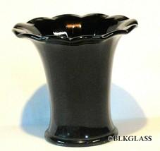 Black Glass Vase 12 Inner Segments 4.5 Inch Ebony Posy Bunch Short Stem ... - $19.99