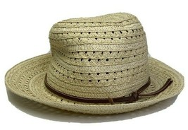 Chaps Breathable Tan Straw Fedora Style Hat Fits Brown Strap - $11.88