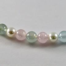 Halskette mit Aquamarin Mehrfarbig Perlen Akoya und Verschluss in Gold W... - $798.12