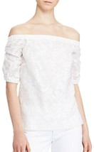 Ralph Lauren Silk Blend Jacquard Off The Shoulder Blouse Top, White, M $125 - $58.49