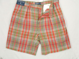 NEW! NWT! $80 Polo Ralph Lauren Plaid Tyler Shorts!  38  *Pleated Front*  *Rust* - $44.99