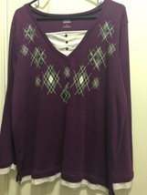 Only Necessities L Purple Pull Over Top Long Sleeve - $6.80