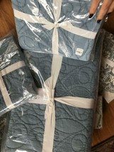 Pottery Barn Washed Cotton Quilt Set Pearl Blue Queen 2 Standard Shams 3pc - $268.00