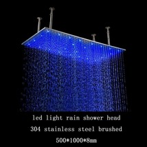 "40"" Rectangular Brushed stainless steel LED Rainfall Large Shower Head Bathroom - $789.50"