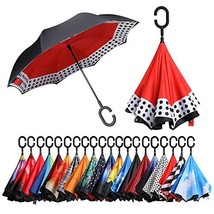 BAGAIL Double Layer Inverted Umbrellas Reverse Folding Umbrella Windproo... - $21.47