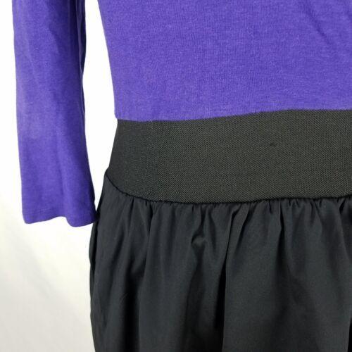 Express Dress Womens Sz 8 Black Purple Elastic Waist Stretch 3/4 Sleeve Pockets image 4