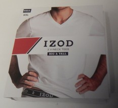 3 GENUINE IZOD MENS 2XL 3XL 4XL 100% COTTON WHITE V NECK T SHIRTS UNDERS... - $29.90