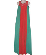 SOGO CLUB ELBISE BOHO Dress Size M Authentic Green Red Maxi Chiffon Embr... - $59.99