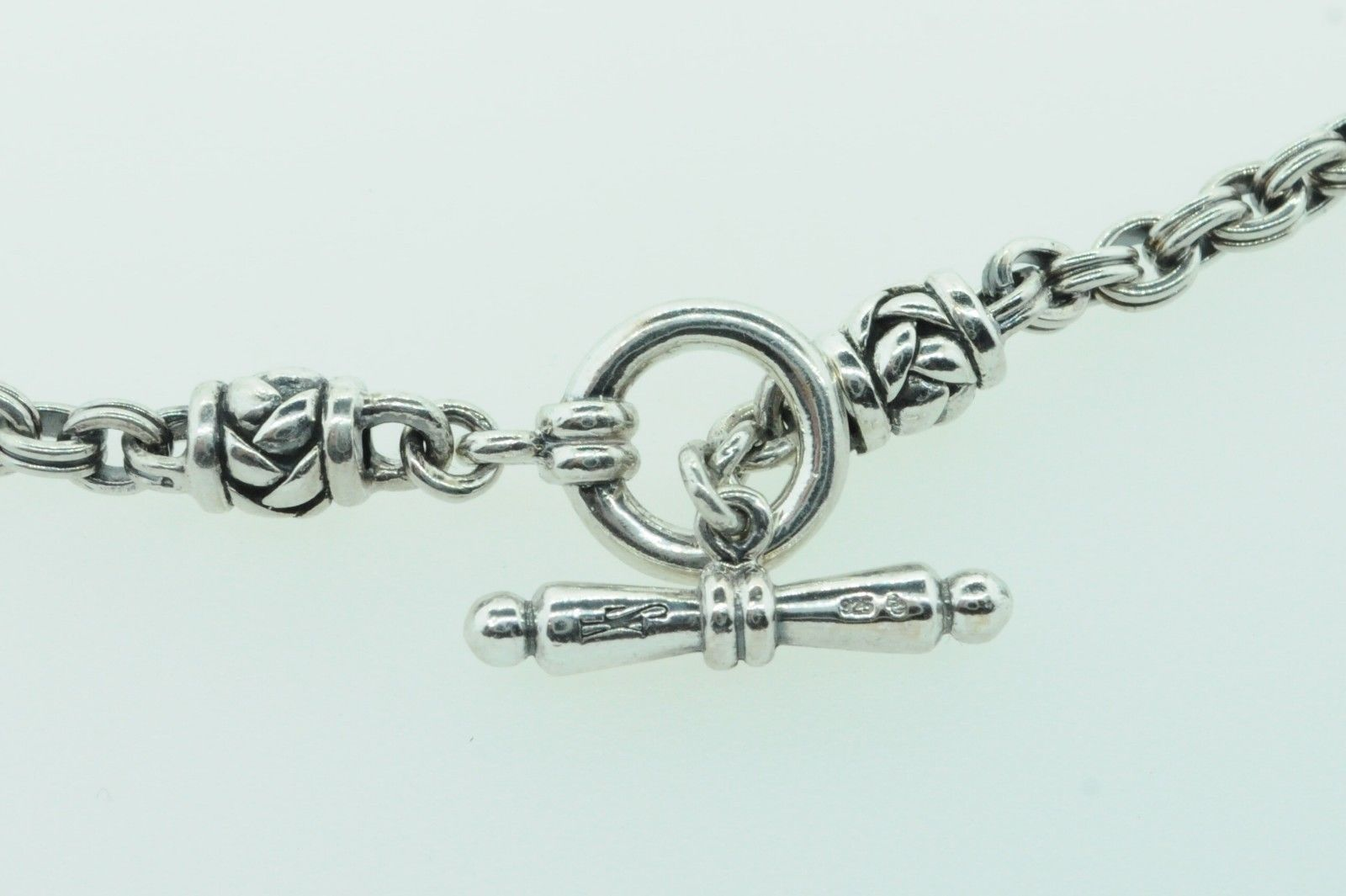 """SCOTT KAY Sterling Silver Charm Link Necklace with Basket Weave Stations (32""""+)"""