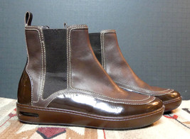 Cole Hann Brown Leather Patent Leather Trim Ankle Boot Sz. 7B MINTY - $44.17