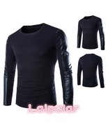 High Quality Brand Men Sweater 2018 PU Leather Cotton Patchwork Pullover... - $41.42