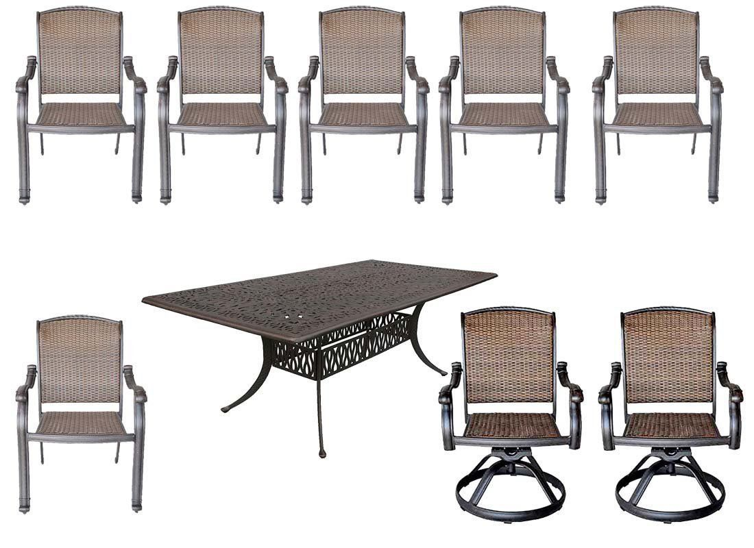 Elisabeth 9 piece cast aluminum patio dining set with Santa Clara dining chairs