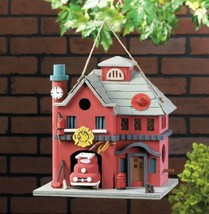 BIRDHOUSES: RED FIRE STATION Classic Firehouse Accents Wood Bird House - $21.33