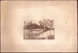 19th Century Decorative Print Fields Trees Hills Town Yellow Brown Fall - $15.07