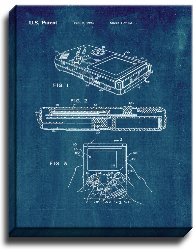 Primary image for Gameboy Video Game System Patent Print Midnight Blue on Canvas