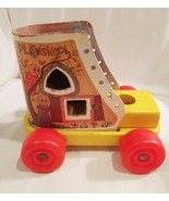 Playskool Vintage Wooden Shoe Old Lady Who Lived in a Shoe Lace Up 1950's - $8.54