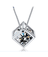Women Sterling Silver Zircon Hollowed-out Rubik's Cube Pendant - $12.99