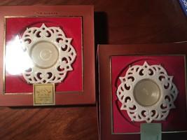 Lenox Snow Lights Porcelain Tea Light Candle Holders (2)  Votives NEW! - $9.90