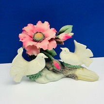 Capodimonte porcelain flower sculpture Italy figurine vtg doves napoli violet  - $338.45
