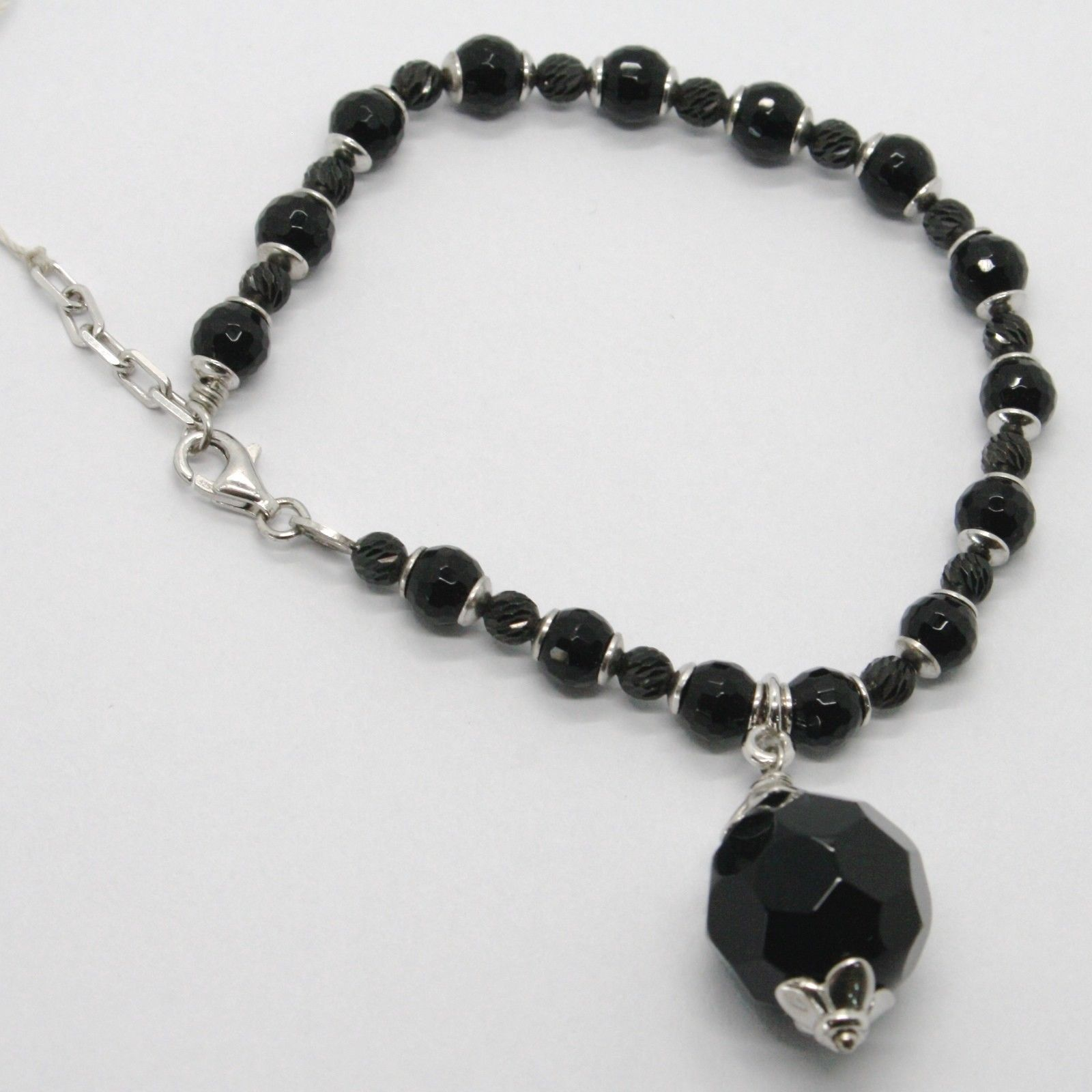 925 STERLING SILVER BRACELET BIG BLACK ONYX FACETED BALLS & NUGGET PENDANT