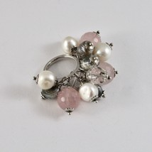 925 SILVER RING CLUSTER MUNITIONS WITH PEARLS BAROQUE STYLE PINK QUARTZ AND