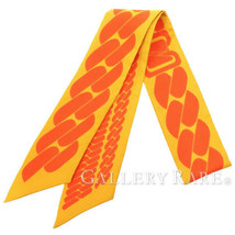 Hermes Scarf Twilly Clic Cest Noue Silk 100% Yellow Orange Authentic 374... - $183.83