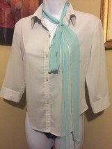 Express Pale Green Tailored 3/4 Sleeve Button Up Blouse Size 1 - 2 NEW WOT - $14.30