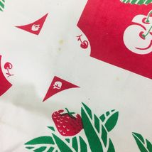 Reproduction Kitchen Toweling Towel Fabric Unsewn Red Cream Green Cherries Apple image 4